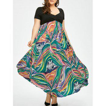 Plus Size Print Empire Waist Semi Formal Prom Dress - COLORMIX XL