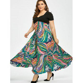 Plus Size Print Empire Waist Semi Formal Prom Dress - 3XL 3XL