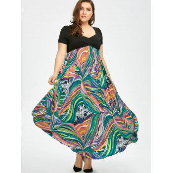 Plus Size Print Empire Waist Semi Formal Prom Dress - 4XL 4XL