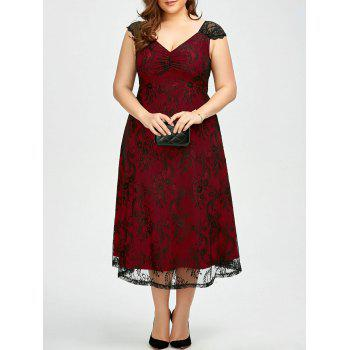 Vintage Plus Size Lace Prom Formal Evening Dress - DEEP RED DEEP RED