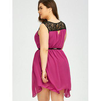 Plus Size Lace Panel Chiffon Handkerchief Dress - XL XL