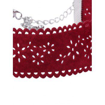 Rhinestone Velvet Alloy Crucifix Choker Set - RED