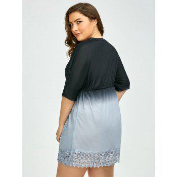 Plus Size Dolman Sleeve Ombre Cover Up Robe - Bleu et Noir 3XL