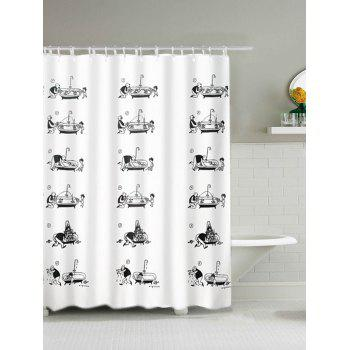 father and son printing waterproof polyester shower curtain
