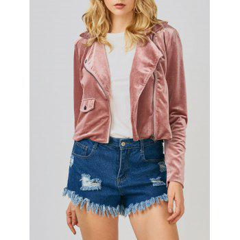 Shiny Velvet Biker Jacket