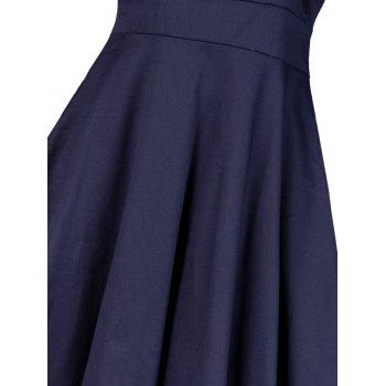 Vintage Lace Insert Pin Up Skater Dress - PURPLISH BLUE S