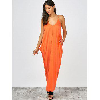 Plongeant Neck Loose Fit Maxi Dress - Orange M
