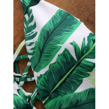 Palm Print Backless Plunge Padded One Piece Bathing Suit - GREEN XL