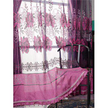 Flower Embroidery Sheer Fabric Tulle with Pendant Decor - PURPLISH RED W39 INCH*L98 INCH