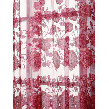 Window Screen Sheer Flower Tulle Curtain For Living Room - RED W39 INCH*L98 INCH