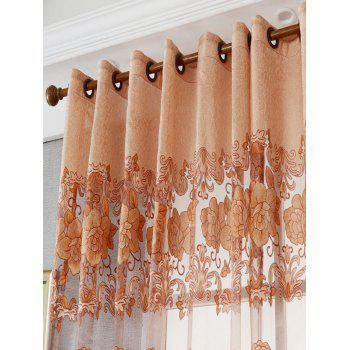 Window Screen Sheer Flower Tulle Curtain For Living Room - KHAKI W39 INCH*L79 INCH
