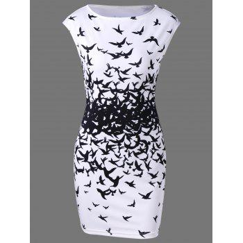 Bodycon Cap Sleeve Bird Print Mini Dress - WHITE AND BLACK WHITE/BLACK