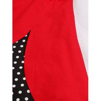 Halter A Line Vintage Spotted Dress - RED 2XL
