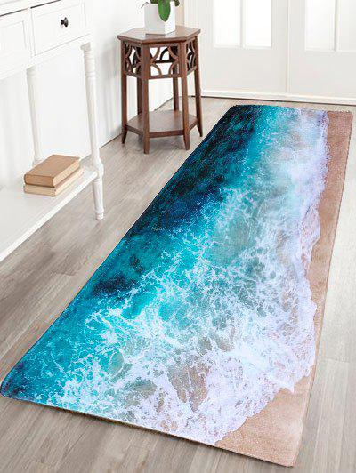 Sea Beach Print Flannel Skid Resistance Water Absorb Carpet - COLORMIX
