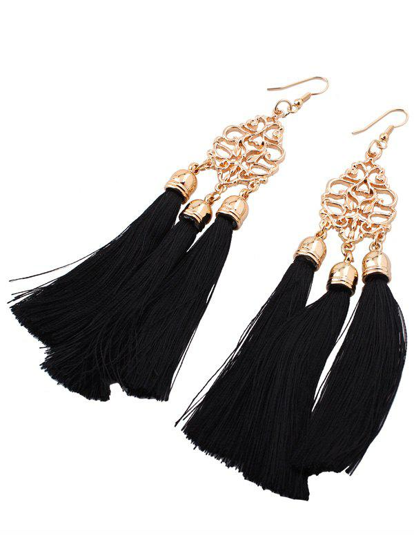 Alloy Engraved Tassel Earrings - BLACK