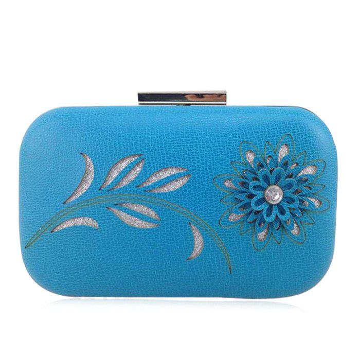 Flower Cut Out Chains Evening Bag - BLUE