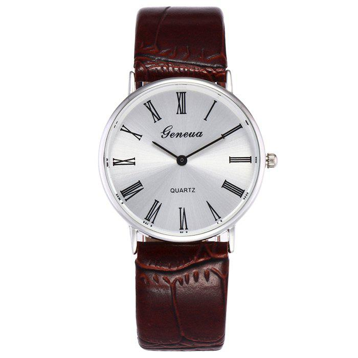 Faux Leather Roman Numerals Watch - LIGHT BROWN