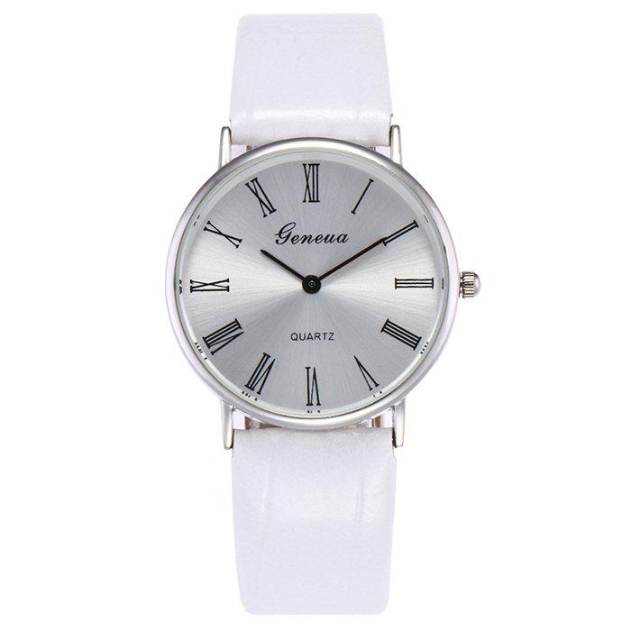 Faux Leather Roman Numerals Watch - WHITE