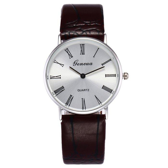 Faux Leather Roman Numerals Watch - DEEP BROWN