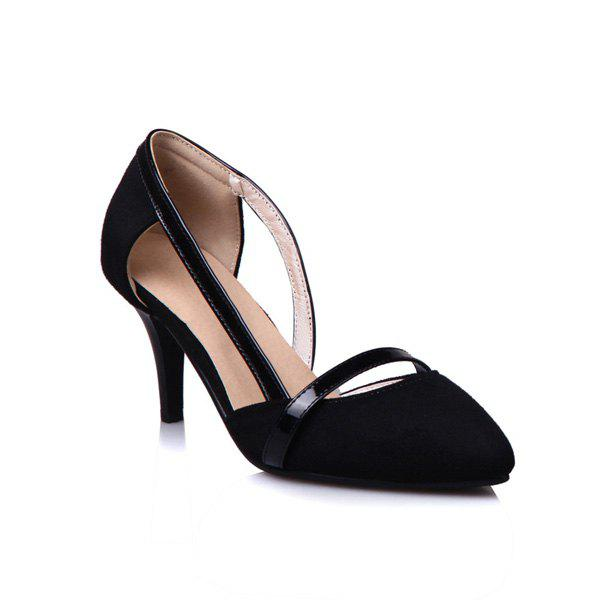Pointed Toe Cut Out Pumps - BLACK 37