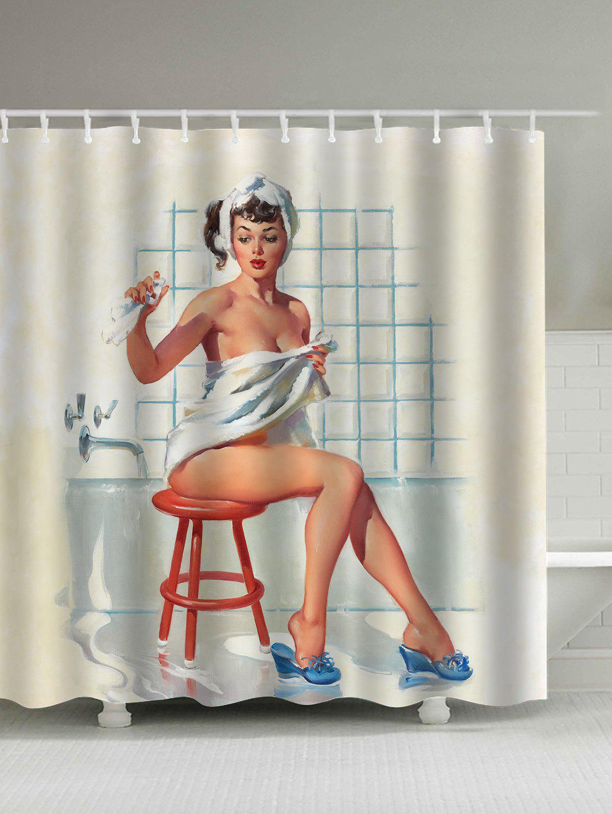 Waterproof Vintage Shower Girl Shower Curtain - COLORMIX 150*180CM