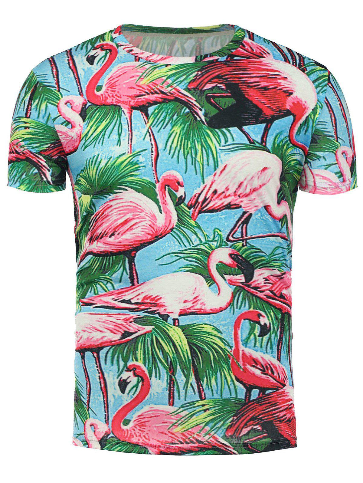 Short Sleeve 3D Flamingo Floral Hawaiian T-Shirt - COLORMIX 2XL