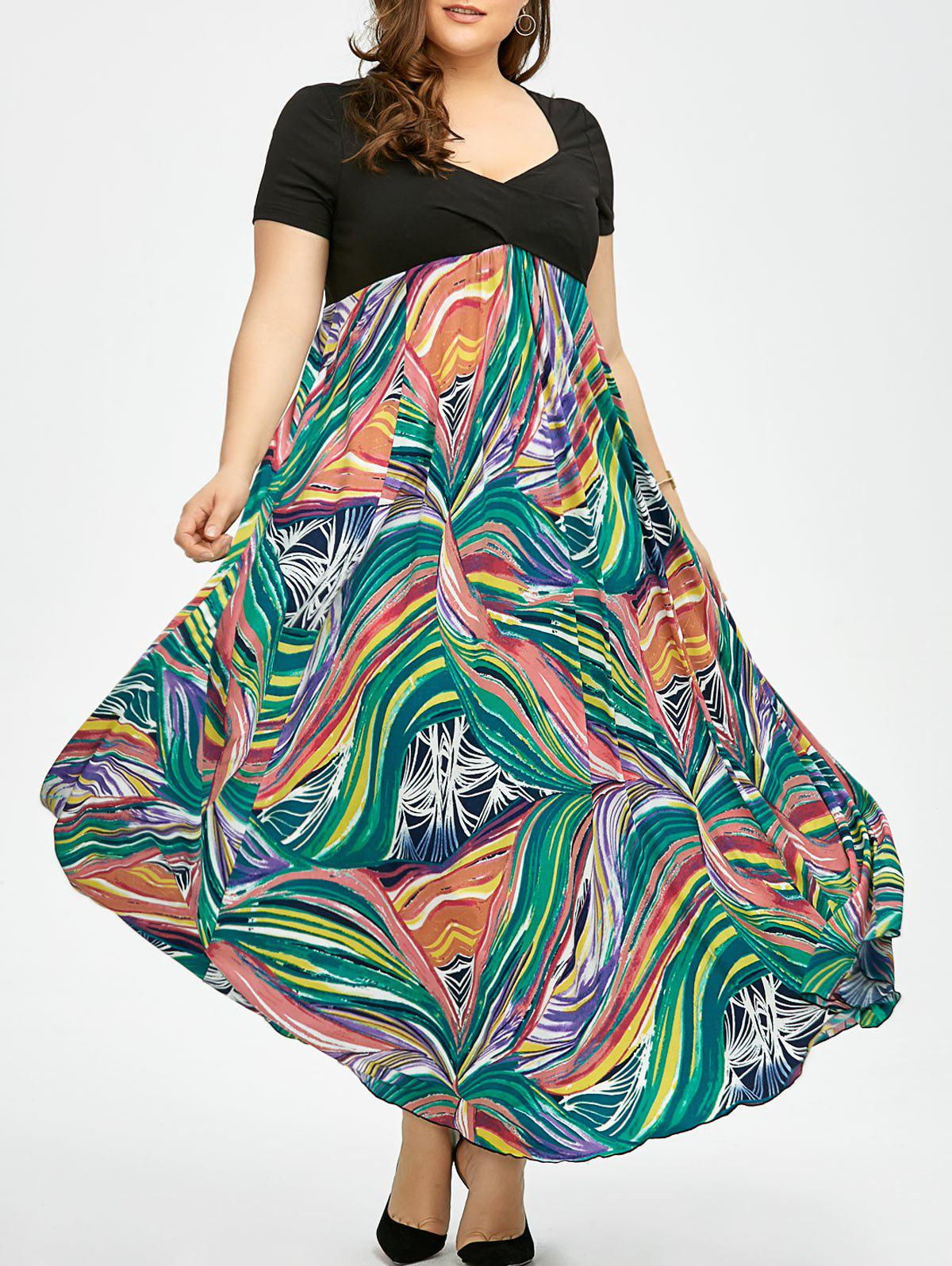 Plus Size Print Empire Waist Semi Formal Prom Dress - COLORMIX 2XL