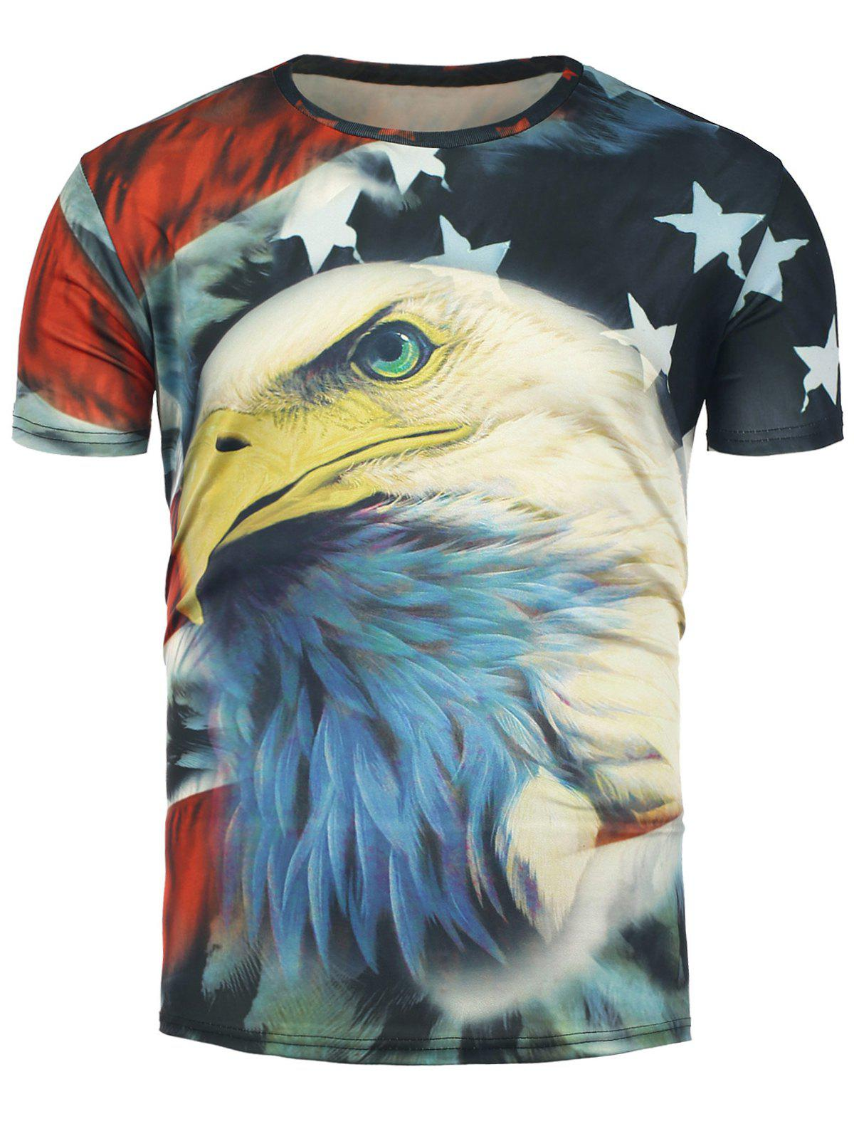 Short Sleeve 3D Eagle and Stars Print T-Shirt