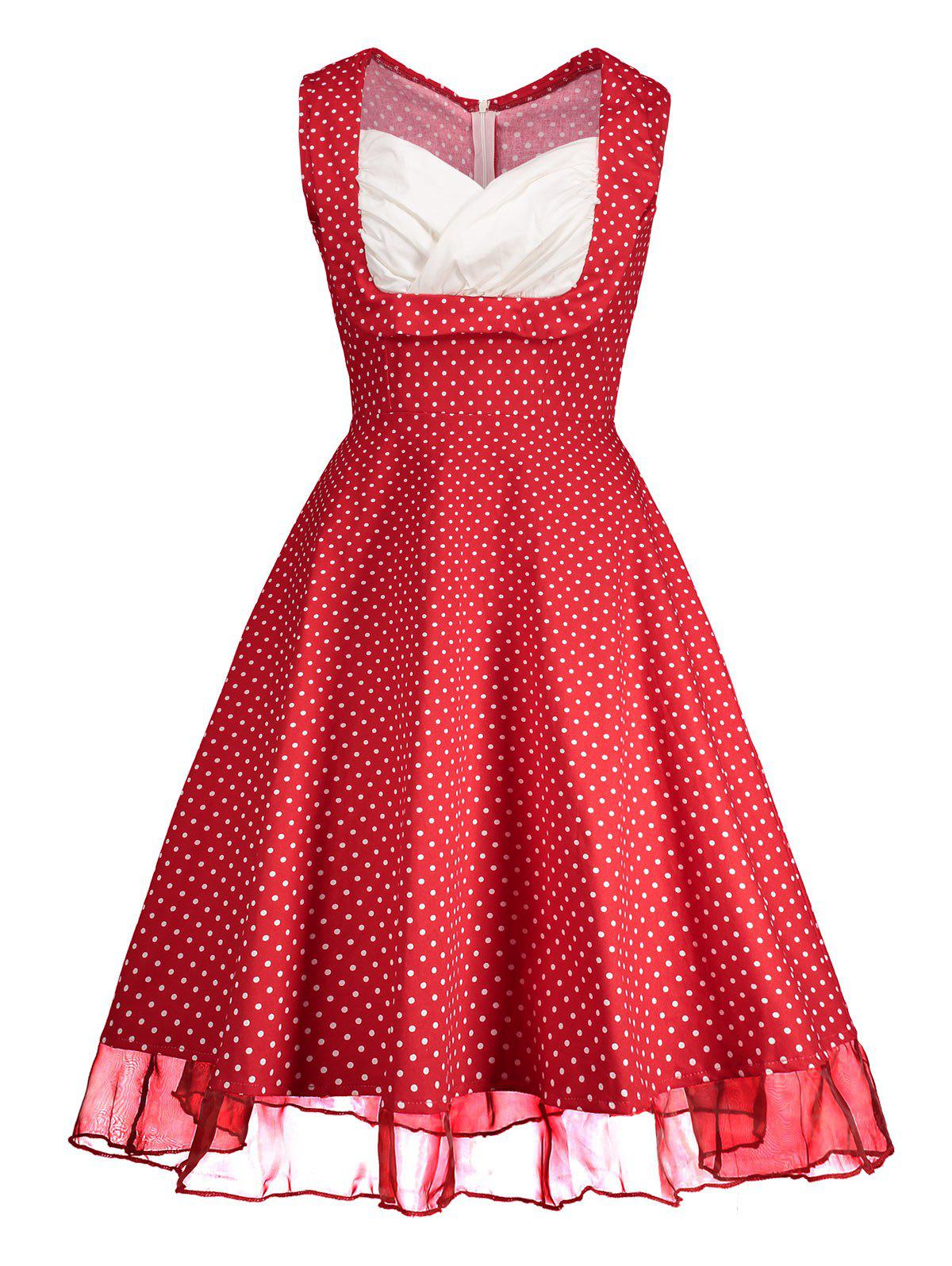 Sweetheart Neckline Polka Dot Pin Up Prom Dress - RED XL