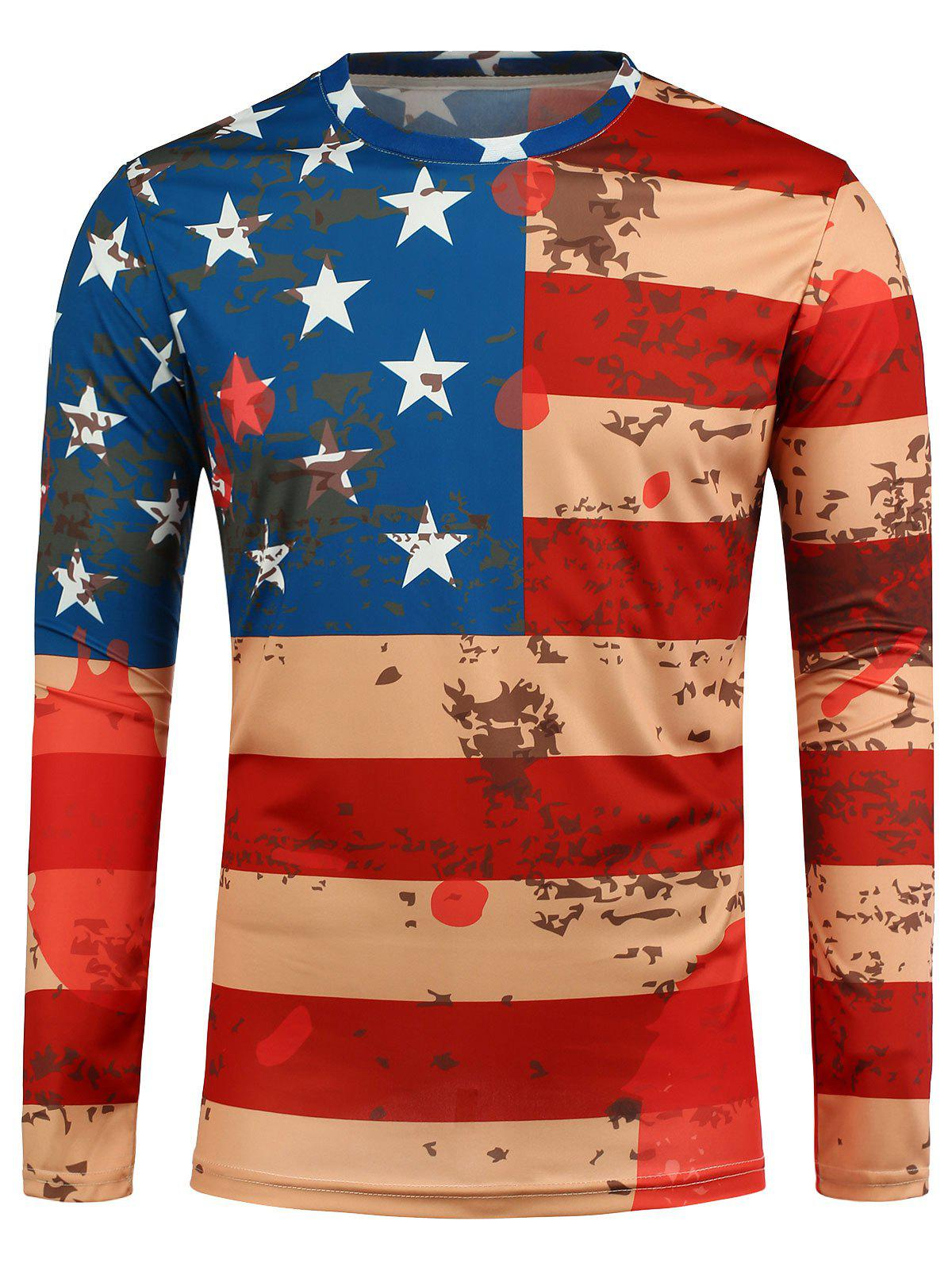 Long Sleeve Flag Printed T-Shirt - RED M