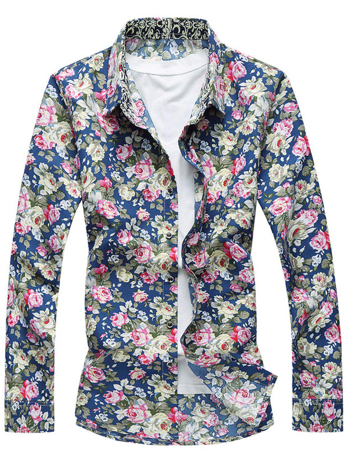 Button Front Flower Shirt - CADETBLUE XL