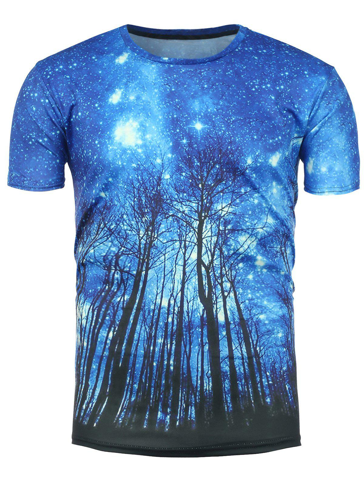 Short Sleeve 3D Trees Galaxy Print T-Shirt - COLORMIX 2XL
