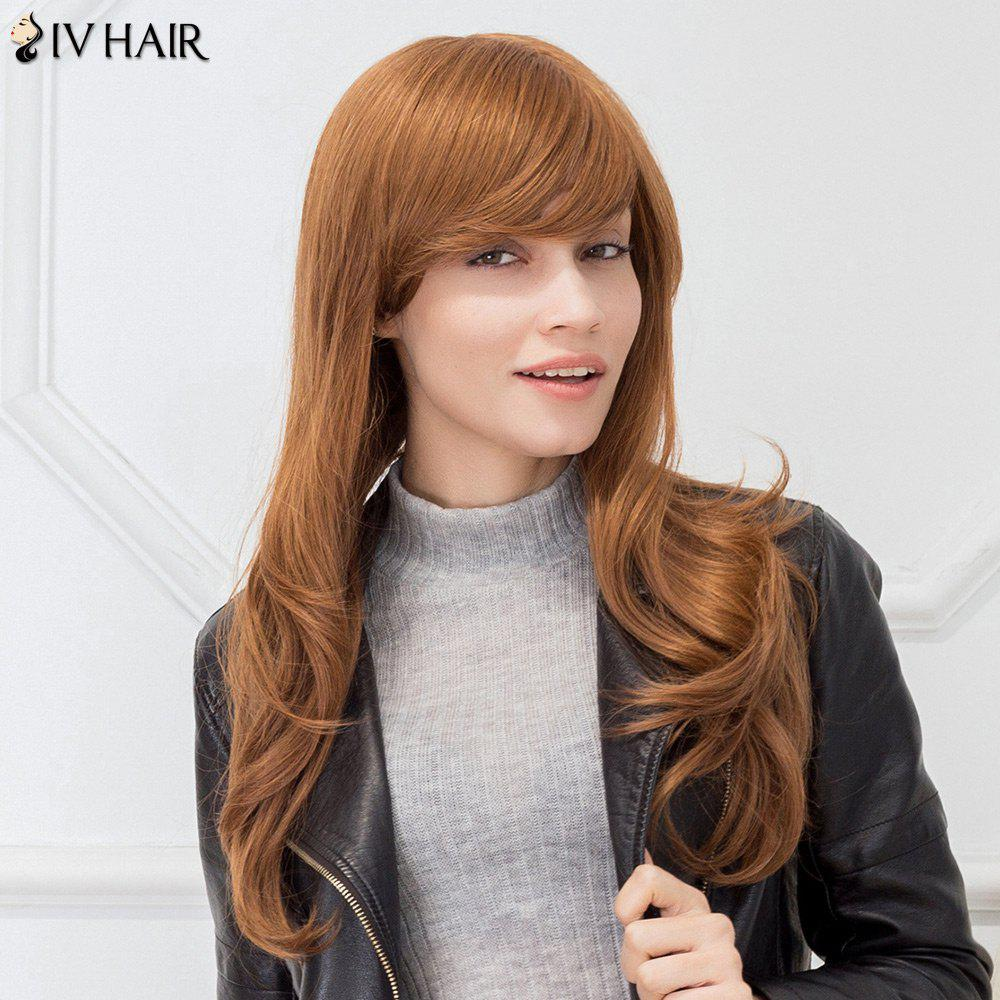 Siv Hair Long Slightly Curled Sided Bang Capless Human Hair Wig - AUBURN BROWN