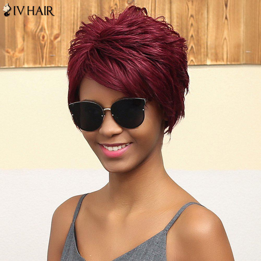 Siv Cheveux courts Layered Coiffure Fluffy Oblique Bang capless perruque de cheveux humains - Bourgogne