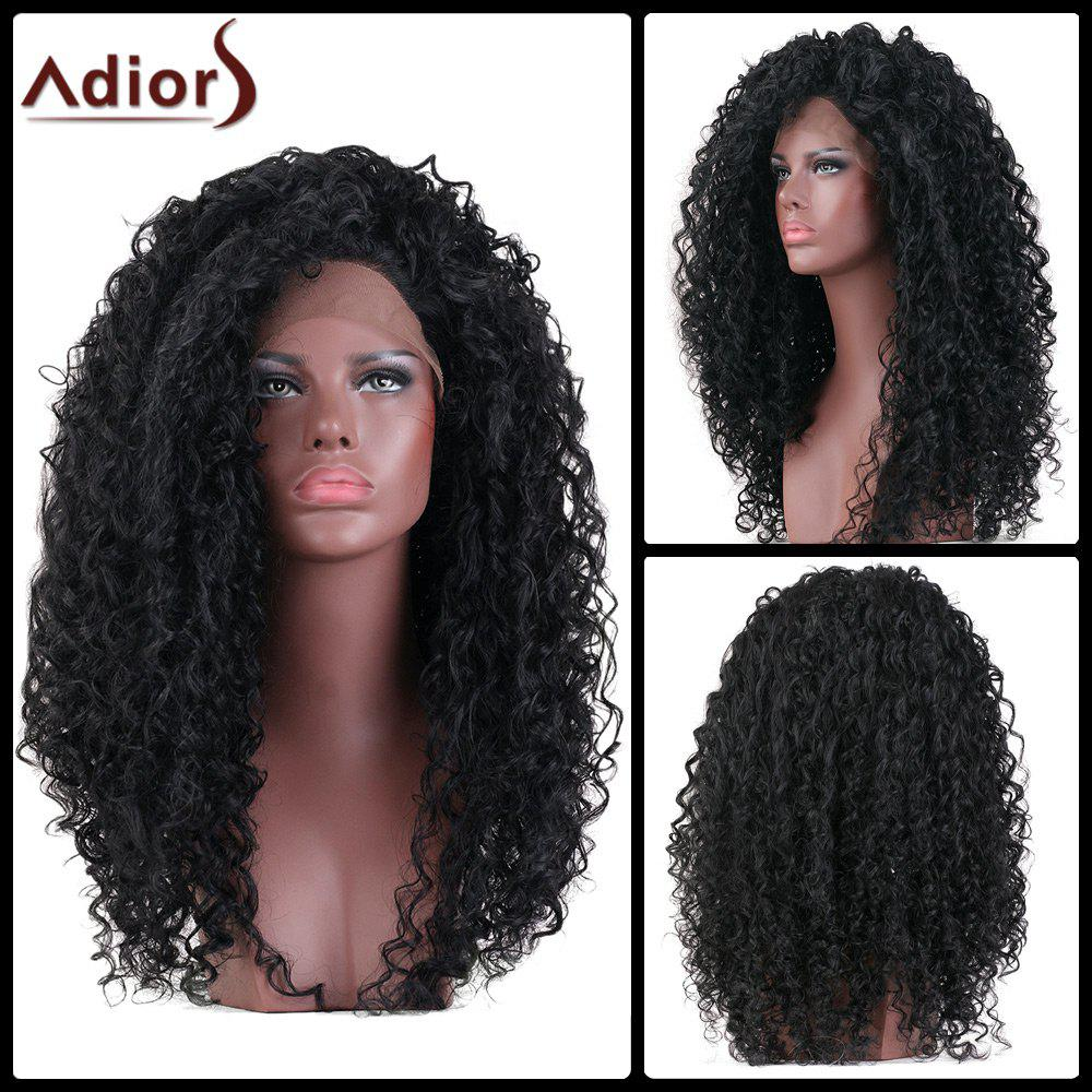 Adiors Hair Long Curly Lace Front Synthetic Wig - BLACK 18INCH