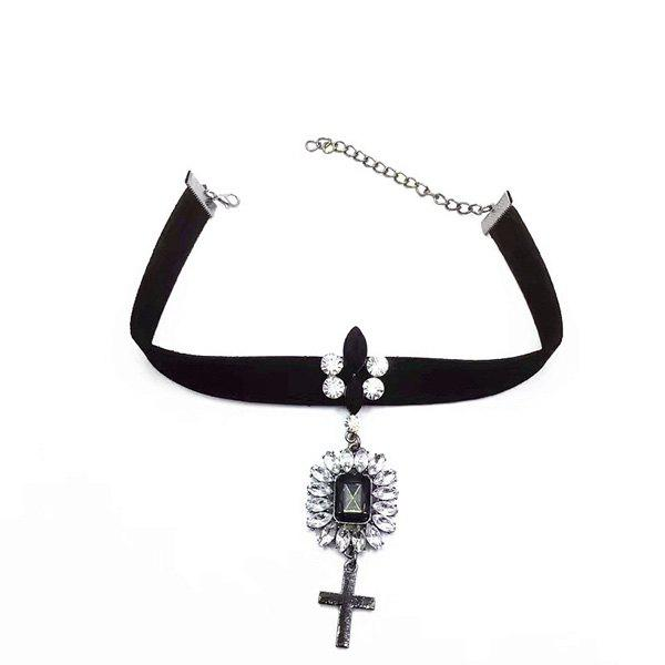 Faux Gem Crucifix Velvet Choker Necklace - BLACK