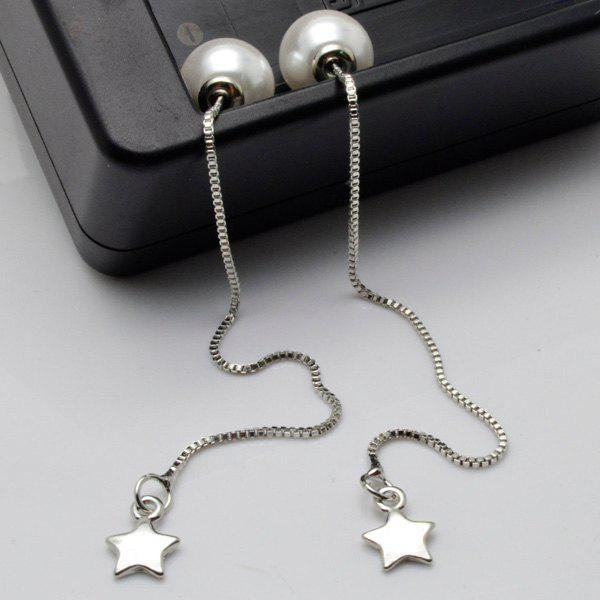 Artificial Pearl Pentagram Chain Earrings artificial pearl sweater chain