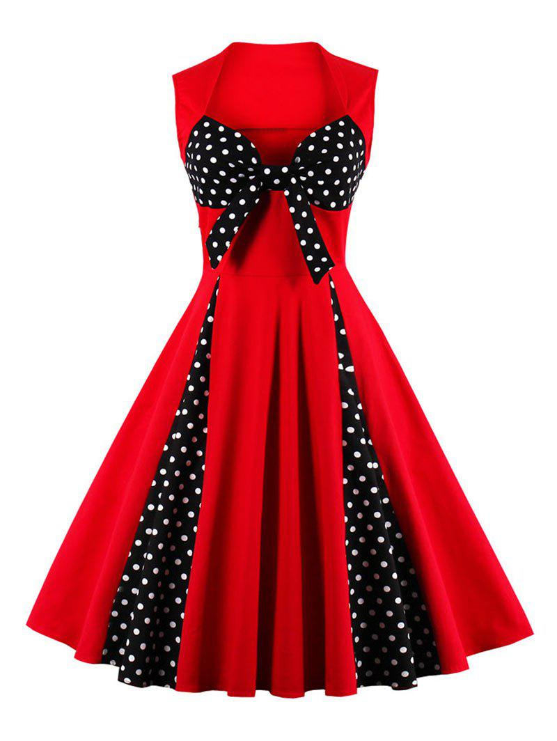 Vintage Polka Dot Bowknot Flare Dress - RED XL