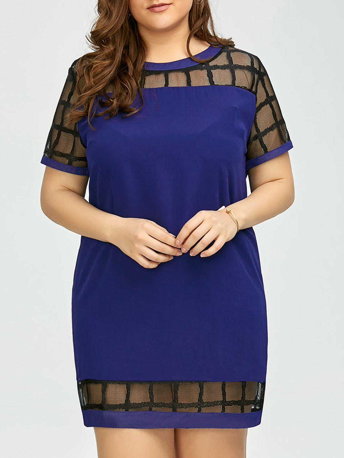 Plus Size Voile Panel Shift Mini Dress - ROYAL 4XL