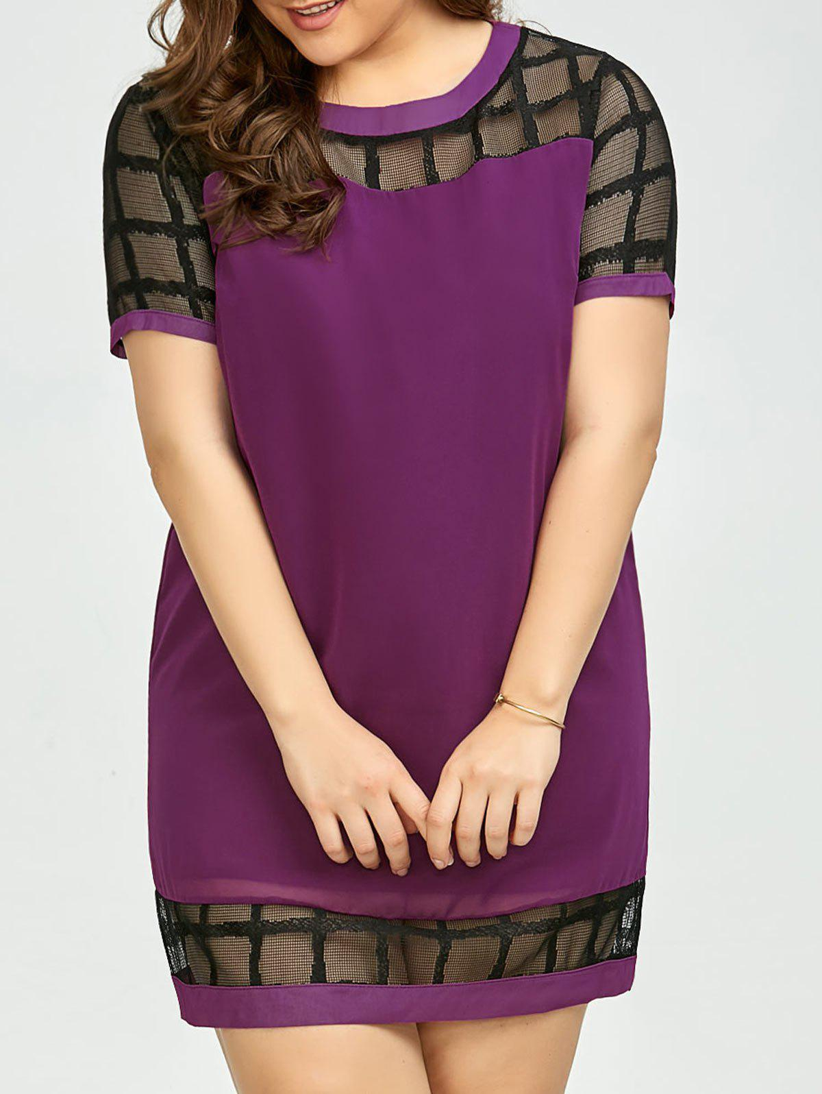 Plus Size Voile Panel Shift Mini Dress - DEEP PURPLE 3XL