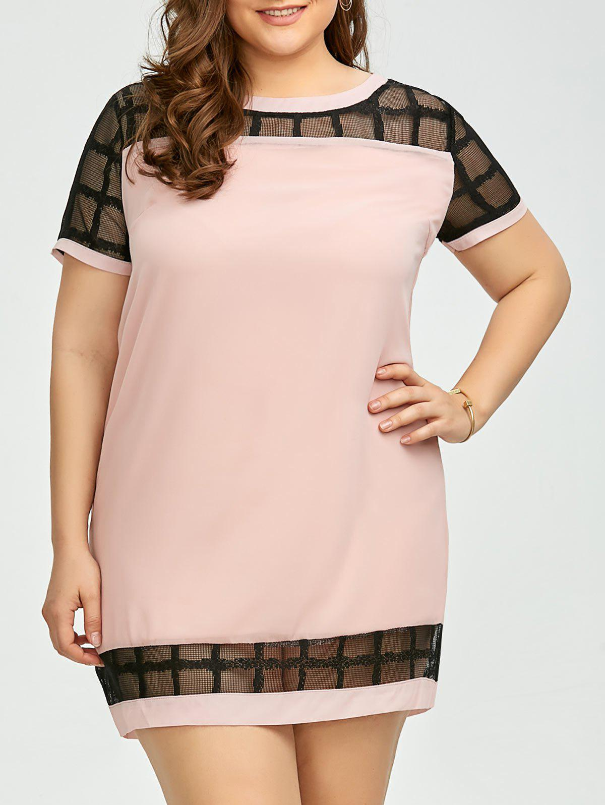 Plus Size Voile Panel Shift Mini Dress - PINKISH PURPLE 4XL