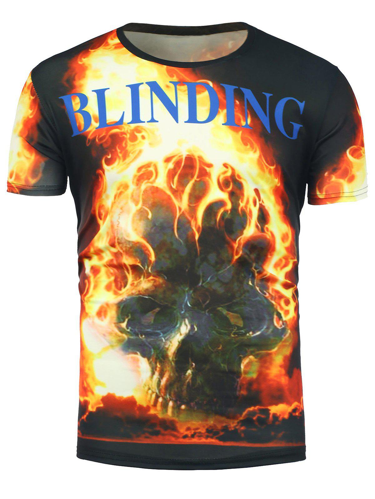 Short Sleeve 3D Flame Skull Print T-Shirt - COLORMIX L