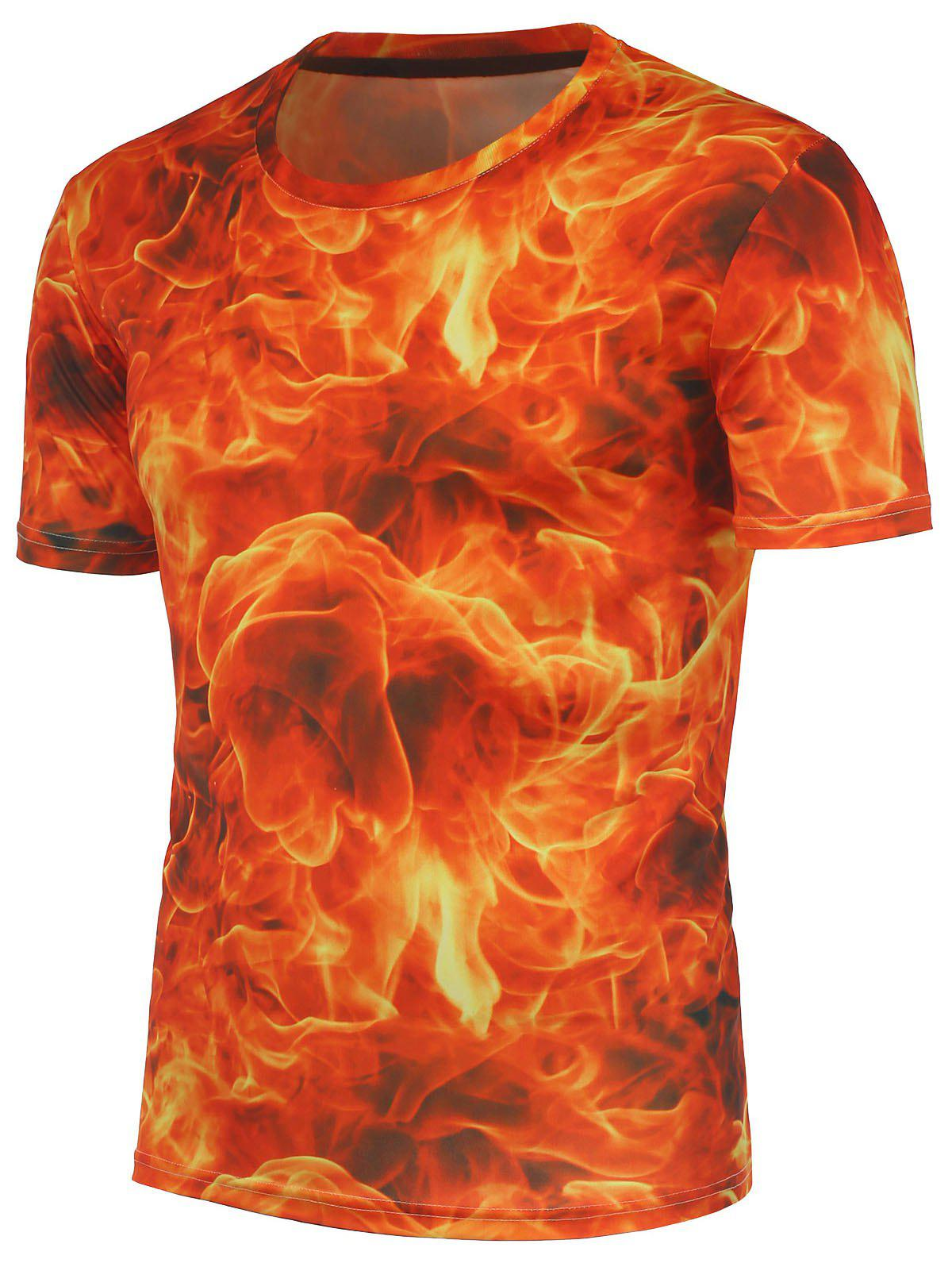 2017 3d fire printed crew neck t shirt red xl in t shirts for Custom fire t shirts