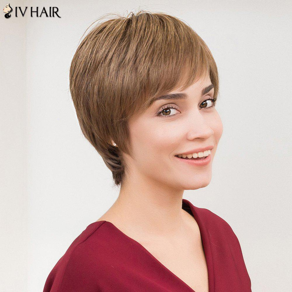 Siv Hair Straight Side Bang court Layered perruque de cheveux humains - Lin