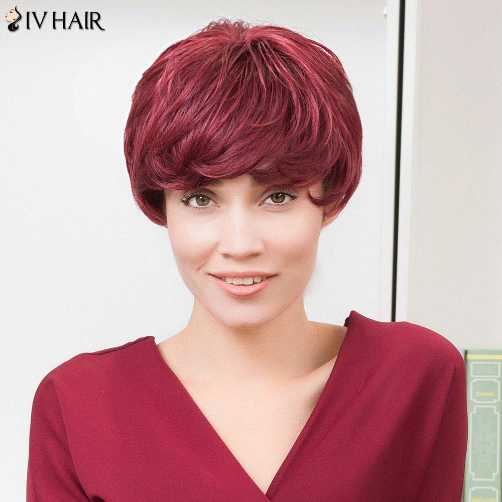 Siv Hair Layered Side Bang Slightly Curled Short Bob Human Hair Wig adiors layered slightly curled side bang short synthetic hair
