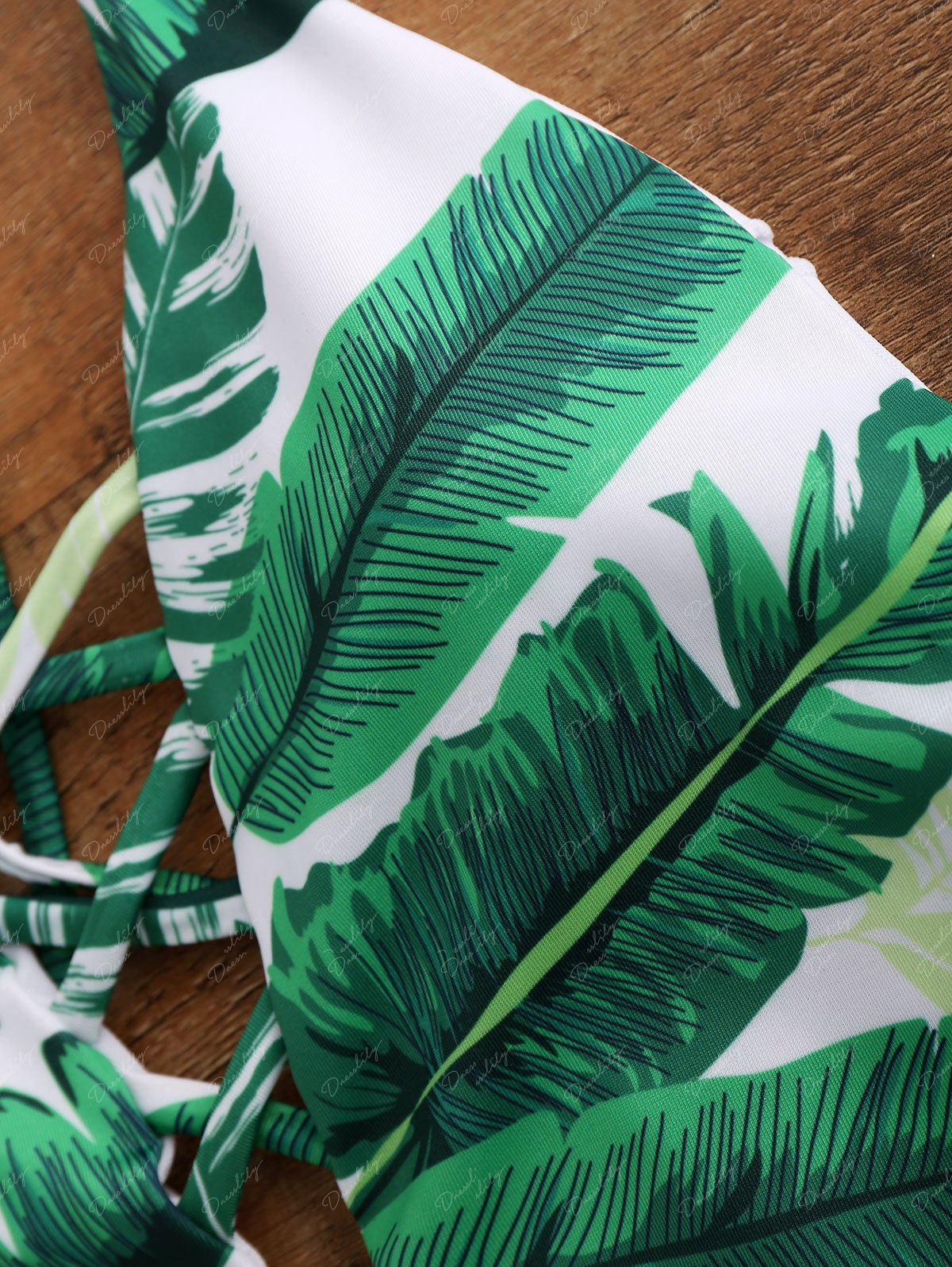 Palm Print Backless Plunge Padded One Piece Bathing Suit - GREEN L