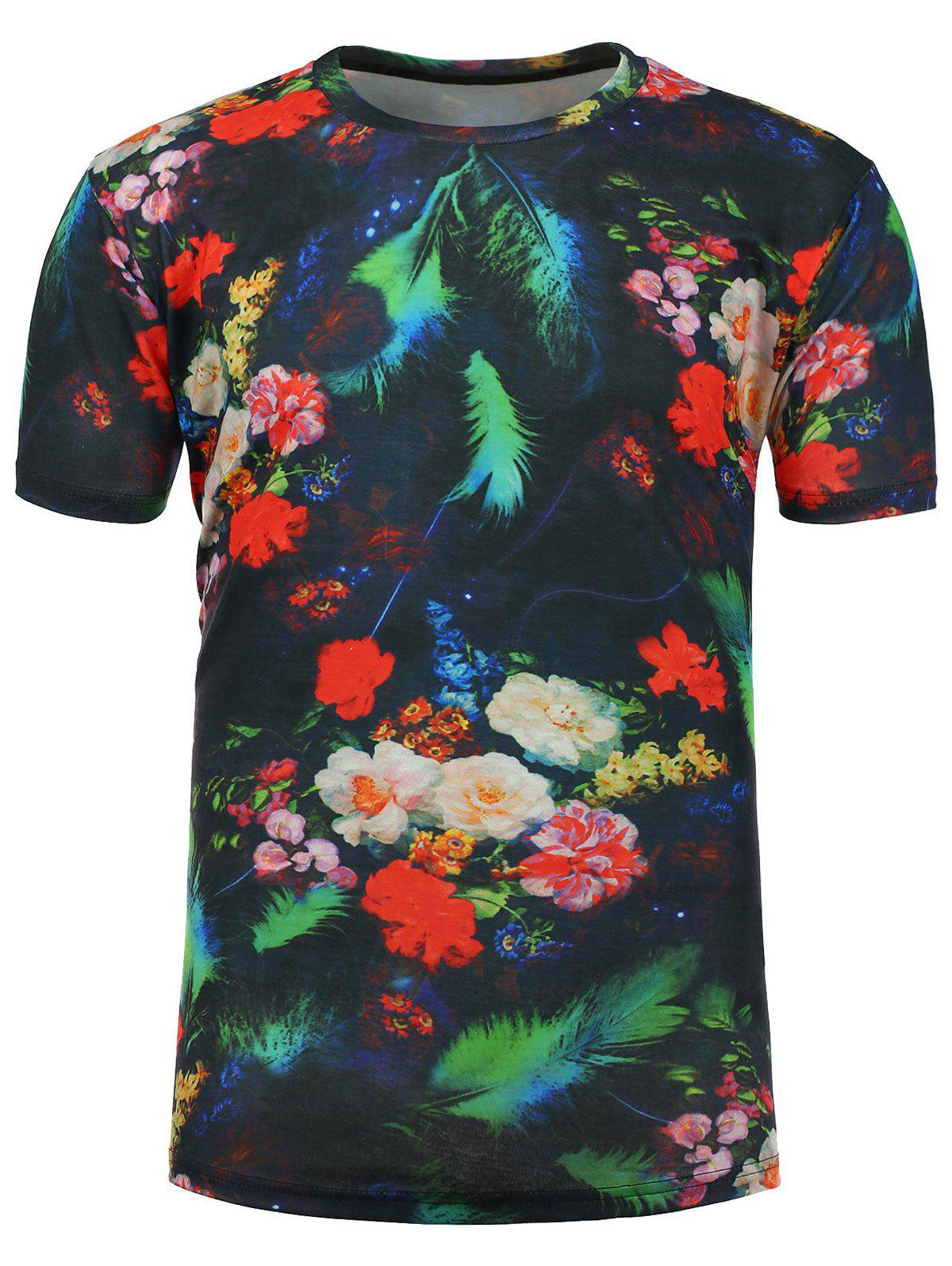 3D Floral Feather Number Print T-Shirt - COLORMIX L
