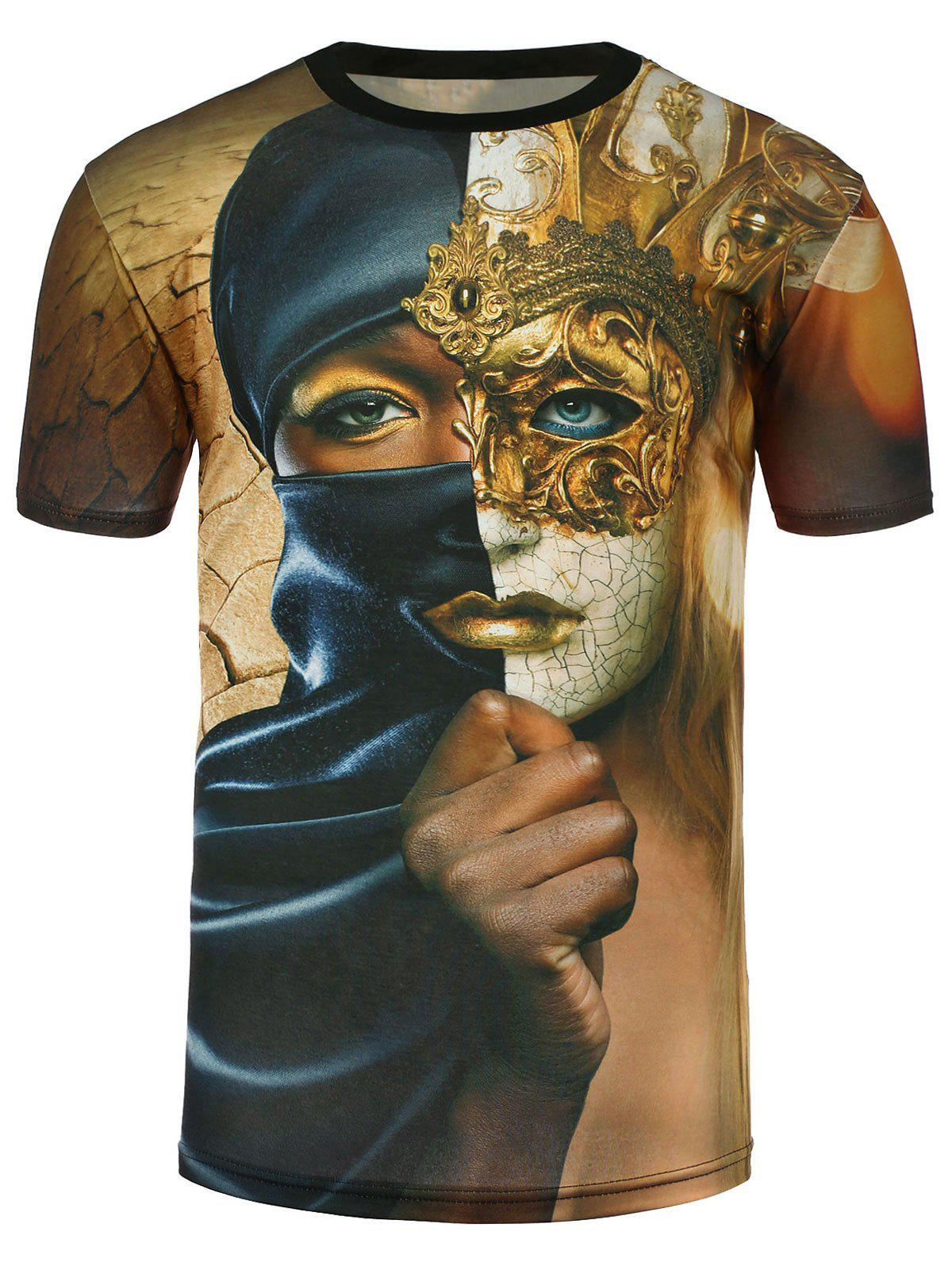 Short Sleeve 3D Mask Woman Print T-Shirt - COLORMIX L