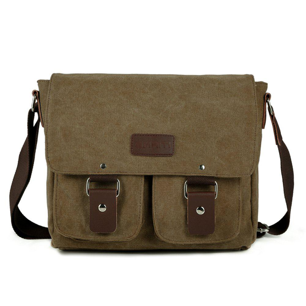 Distressed Canvas Flap Messenger Bag - Café HORIZONTAL
