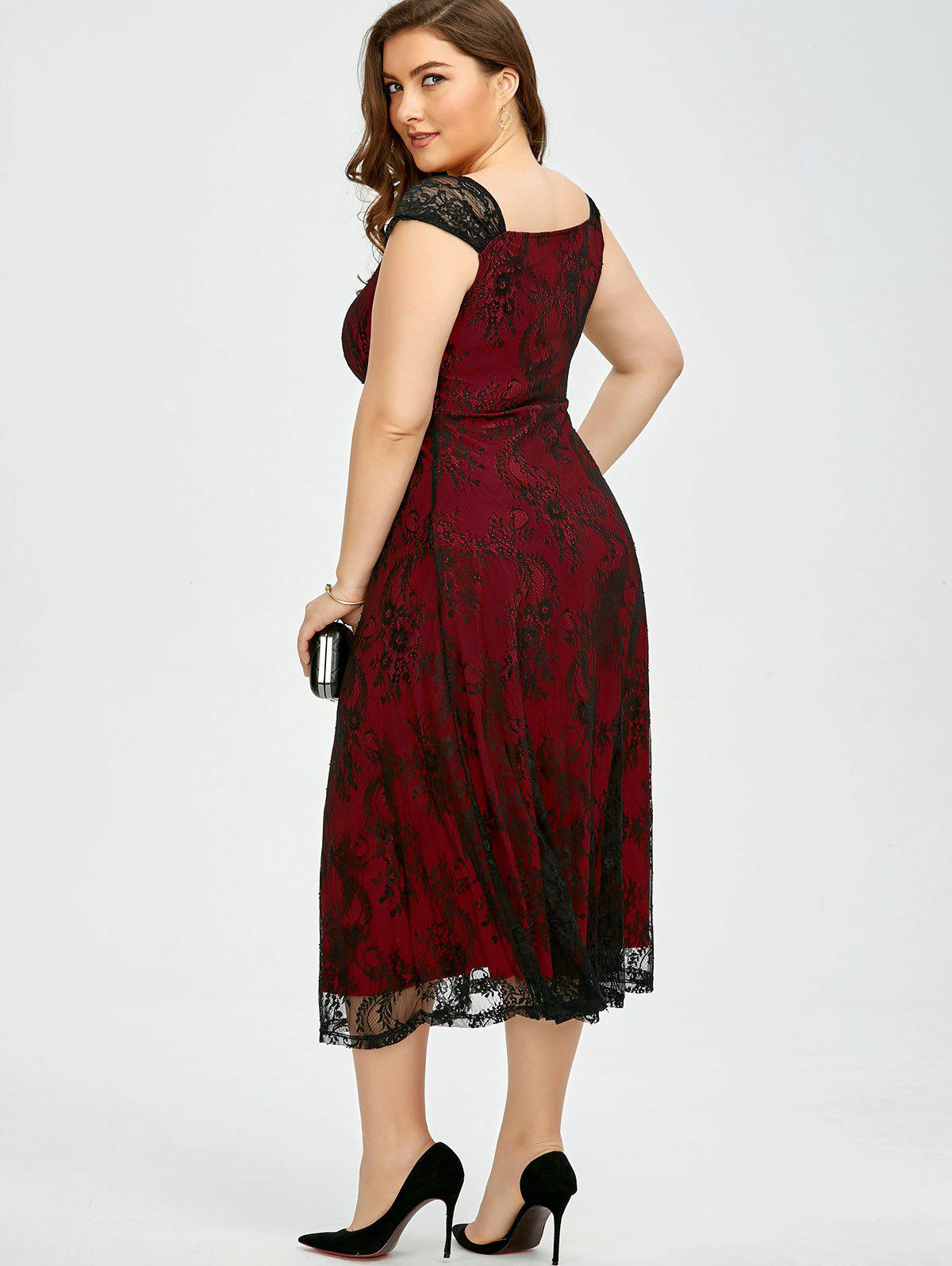 Vintage Plus Size Lace Prom Formal Evening Dress - DEEP RED XL